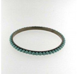 Bracciale rigido in bronzo con perle Jade